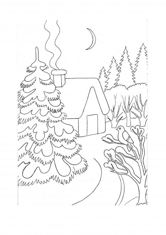 Елка в снегу раскраска